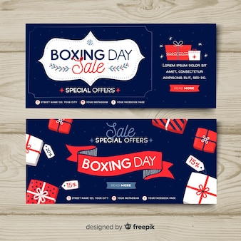 Bannières de vente boxing day dessinés à la main
