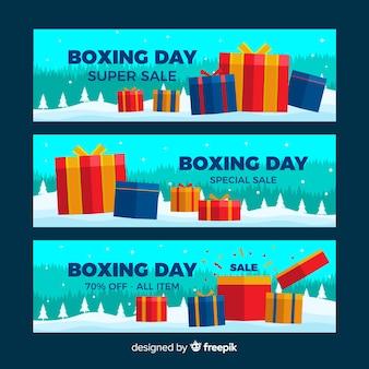 Bannières de vente boxing day