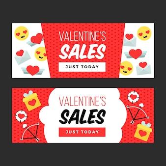 Bannières de vente colorées pour la saint-valentin