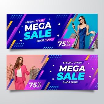 Bannières de vente créatives avec des détails abstraits