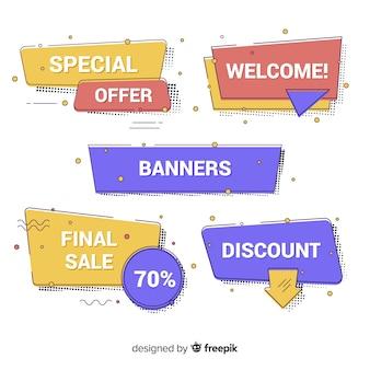 Bannières de vente dans le style memphis