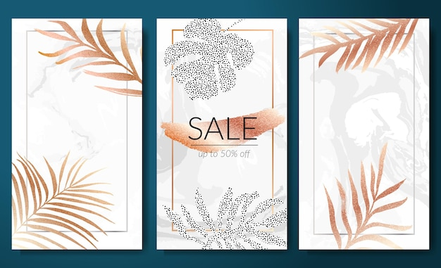 Bannières de vente définies modèle d'histoires verticales feuilles tropicales silhouette de feuille d'or sur marbre blanc