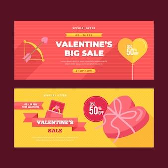 Bannières de vente design plat saint valentin