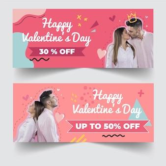 Bannières de vente discount saint valentin avec photo