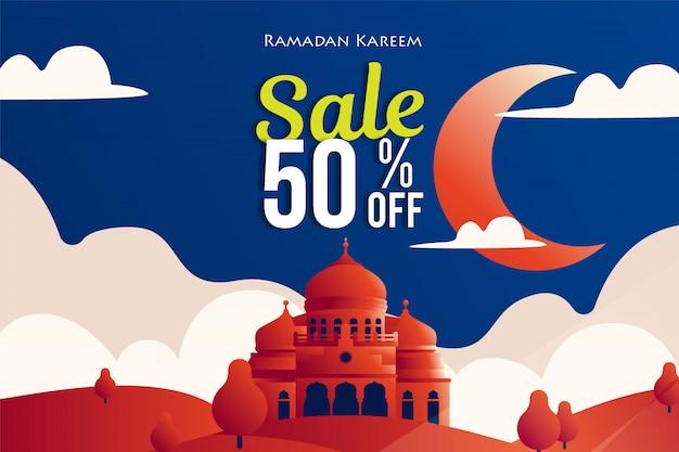 Bannières de vente du ramadhan avec illustration de la mosquée