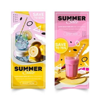 Bannières de vente d'été dessinés à la main avec photo