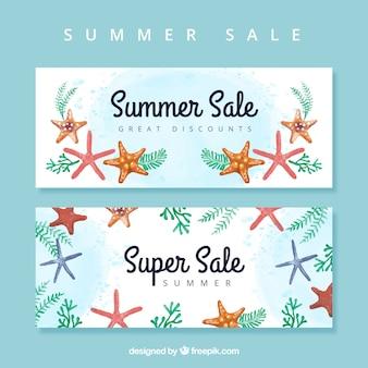 Bannières de vente d'été avec des étoiles de mer aquarelle