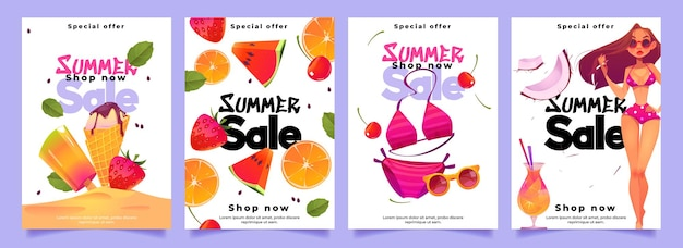 Bannières de vente d'été avec femme en bikini, cocktail, crème glacée et fruits frais