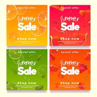 Bannières de vente d'été, modèle de publication de médias sociaux.