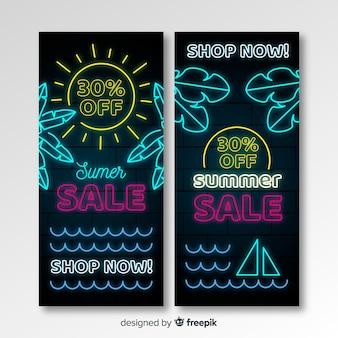 Bannières de vente d'été néon