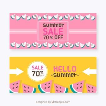 Bannières de vente d'été avec des portions de pastèque
