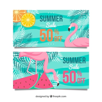 Bannières de vente d'été vert avec des flamants roses