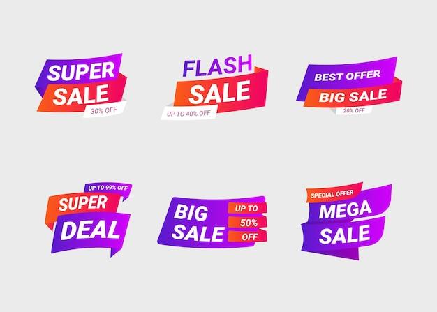 Bannières de vente et étiquettes de prix, carte de vente et autocollant de réduction.