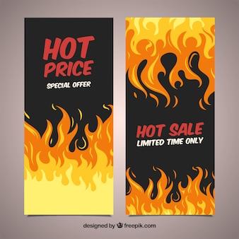 Bannières de vente avec le feu