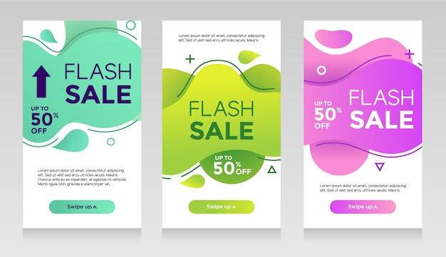 Bannières de vente flash avec couleur liquide abstraite. conception de modèle de circulaire de vente, ensemble offre spéciale de vente flash