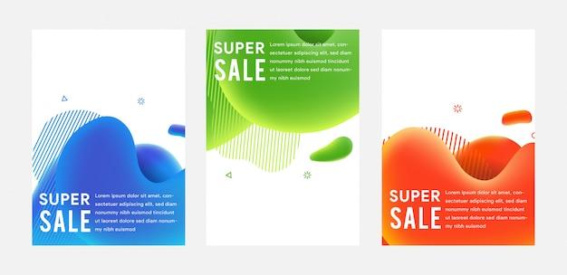 Bannières de vente flash moderne fluide dynamique.