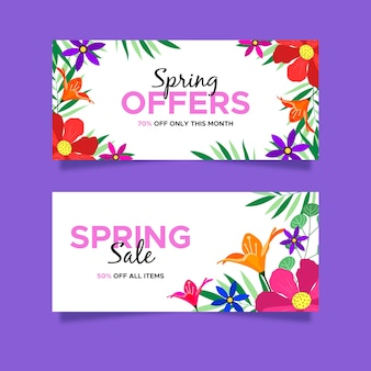 Bannières de vente floral pring