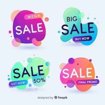 Bannières de vente avec des formes abstraites