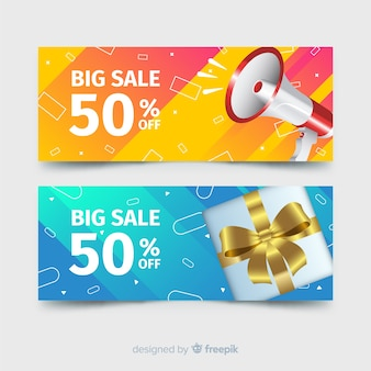Bannières de vente géométriques abstraites avec des éléments réalistes