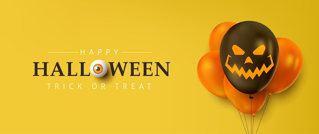Bannières de vente halloween heureux ou fond d'invitation à une fête