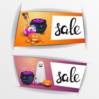 Bannières de vente d'halloween avec jack citrouille