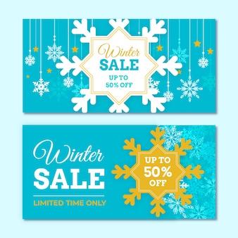 Bannières de vente d'hiver design plat