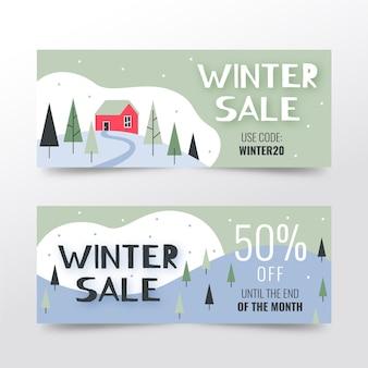 Bannières de vente d'hiver dessinés à la main avec des offres spéciales