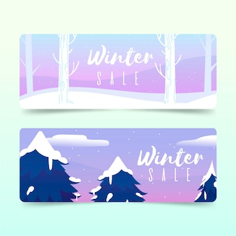 Bannières de vente d'hiver dessinés à la main
