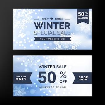 Bannières de vente d'hiver floue avec ruban