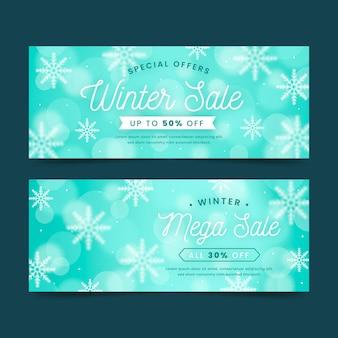 Bannières de vente d'hiver floues avec des flocons de neige
