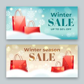 Bannières de vente d'hiver floues