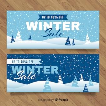 Bannières de vente d'hiver modernes