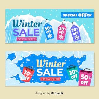 Bannières de vente d'hiver plat