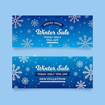 Bannières de vente d'hiver réalistes avec remise