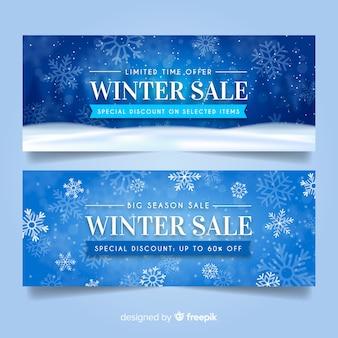 Bannières de vente d'hiver réalistes