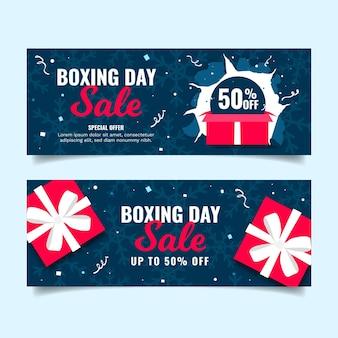 Bannières de vente de jour de boxe dessinés à la main