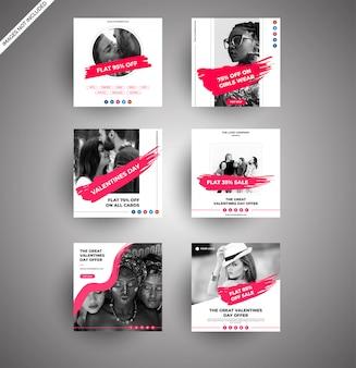 Bannières de vente de jour de valentine propres pour le marketing numérique