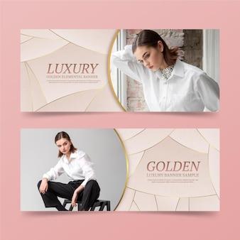 Bannières de vente de luxe doré dégradé avec photo