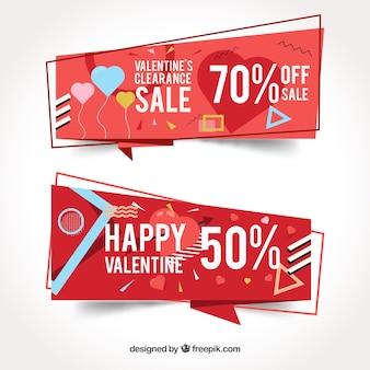 Bannières de vente de memphis style saint-valentin