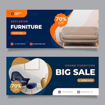 Bannières de vente de meubles avec image