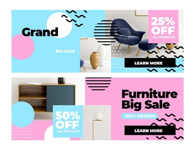 Bannières de vente de meubles avec photo