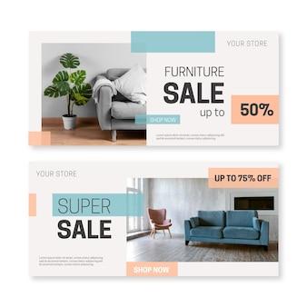Bannières de vente de meubles plats organiques avec photo