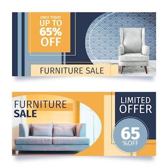 Bannières de vente de meubles plats avec photo