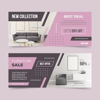 Bannières de vente de meubles avec remise