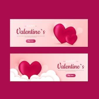 Bannières de vente mignon saint valentin