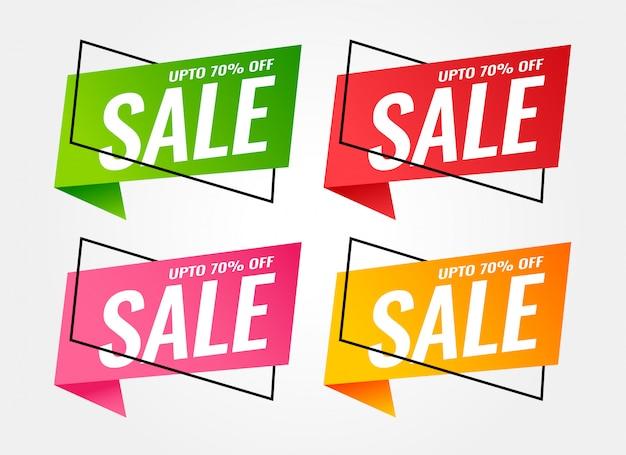 Bannières de vente à la mode de différentes couleurs