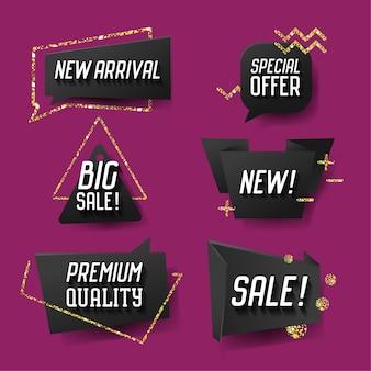 Bannières de vente à la mode géométrique, étiquettes, ensemble de modèles de balises. conception de publicité à prix réduit avec des éléments de paillettes dorées.
