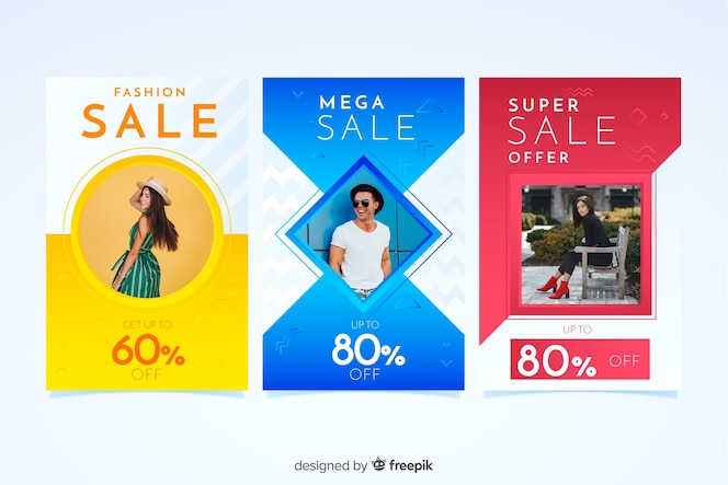 Bannières de vente de mode avec photo