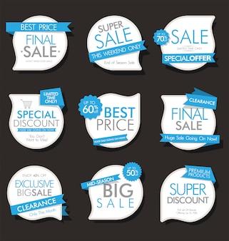 Bannières de vente modernes et étiquettes collection moderne