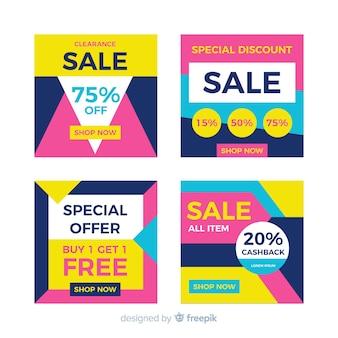 Bannières de vente modernes pour les médias sociaux